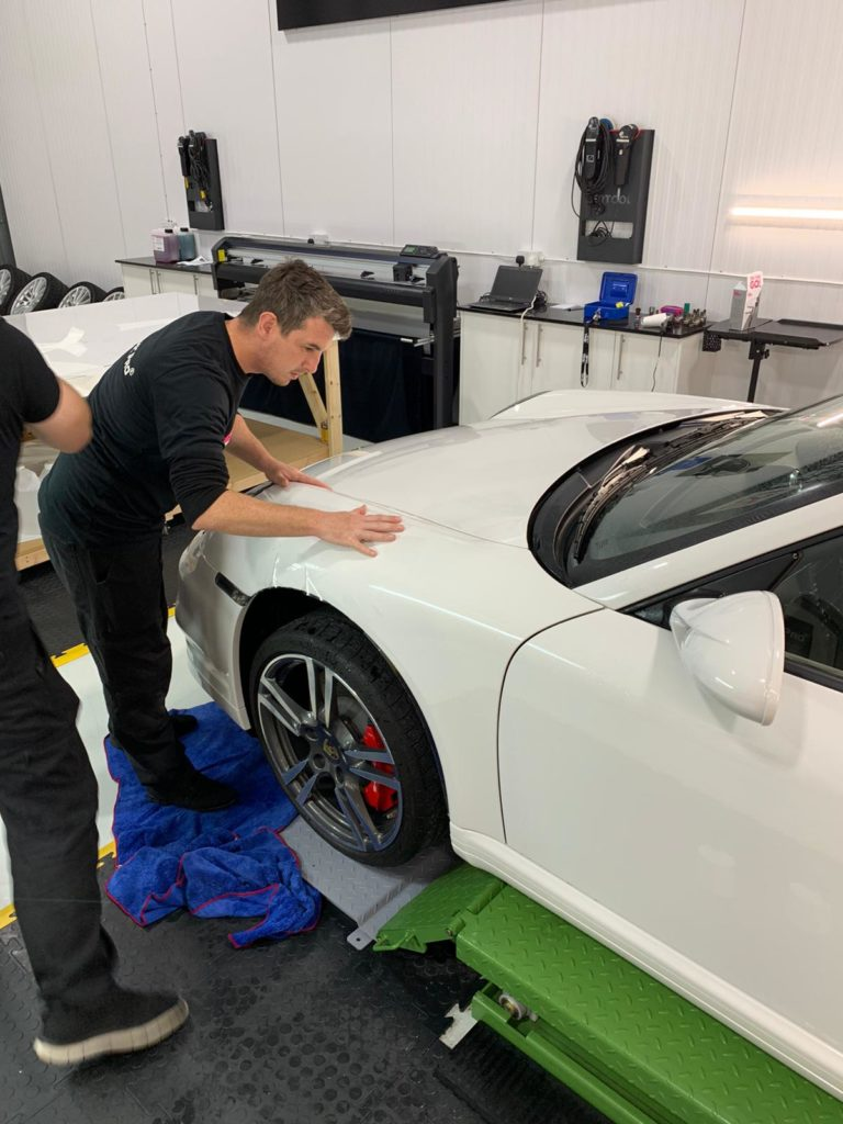 XPEL Paint Protection Film being applied